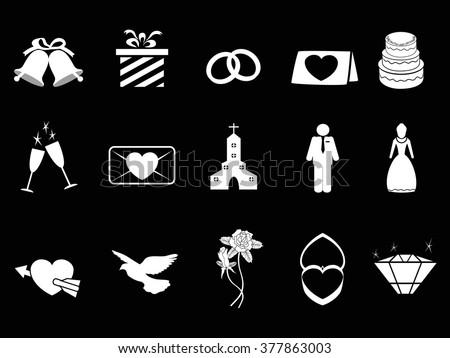 white wedding icons - stock vector