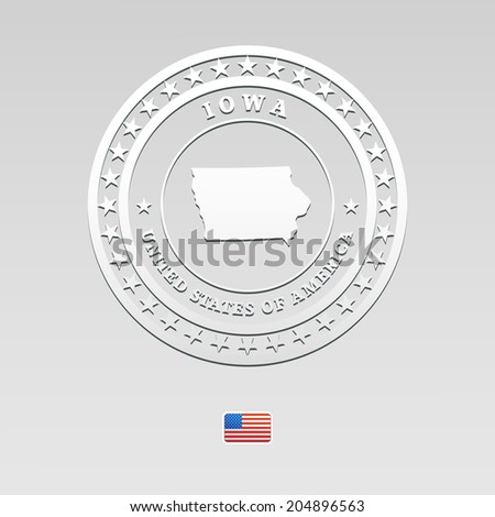 white welt label with map of Iowa, vector - stock vector