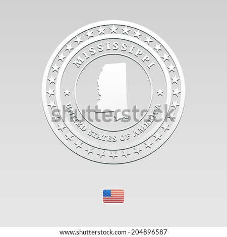 white welt label with map of Mississippi, vector - stock vector