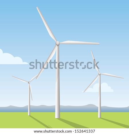 white windmill on the field, wind turbine  - stock vector