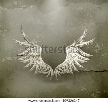 White wings, old-style vector - stock vector