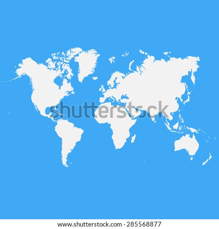 White world map on a blue background - stock vector