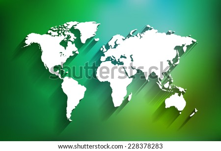 White World Map on Multicolor Background with Shadows - EPS10 Vector  - stock vector