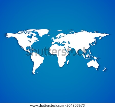 White world map with smooth shadows on blue background. Vector illustrations - stock vector