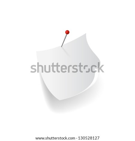 White yellow sticky note with red push pin isolated on white background - stock vector