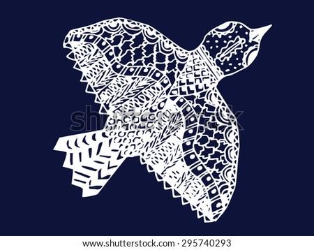 white zentangle hand drawn bird on blue backdrop vector illustration - stock vector