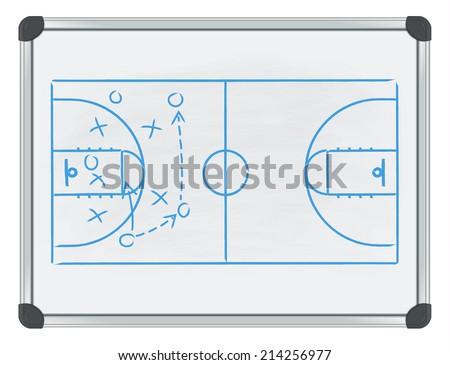 whiteboard basketball - stock vector