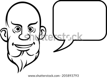 whiteboard drawing - bald and bearded face with speech bubble - stock vector