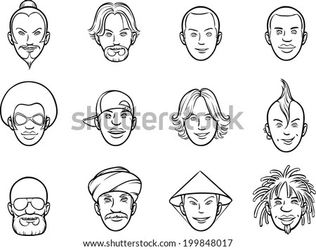 whiteboard drawing - cartoon avatar eccentric faces - stock vector