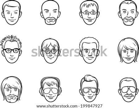 whiteboard drawing - cartoon avatar men faces - stock vector