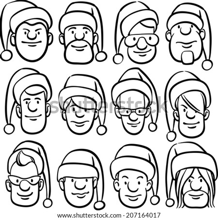 whiteboard drawing - cartoon faces in Santa hat - stock vector