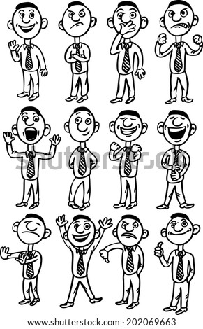 whiteboard drawing - cartoon man figures - stock vector