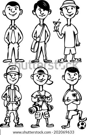 whiteboard drawing - cartoon man figures in various leisure activities - stock vector
