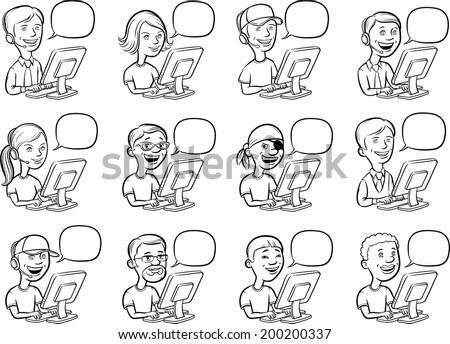 whiteboard drawing - cartoon people and computers - stock vector