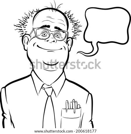 whiteboard drawing - cartoon smiling mad professor with speech bubble - stock vector