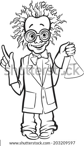 whiteboard drawing - cartoon standing mad scientist - stock vector