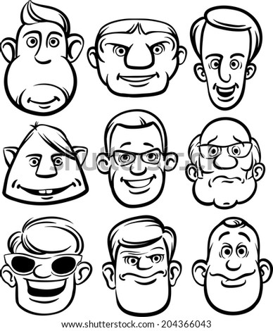 whiteboard drawing - comic men faces - stock vector