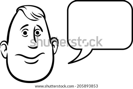 whiteboard drawing - fatty face with speech bubble - stock vector