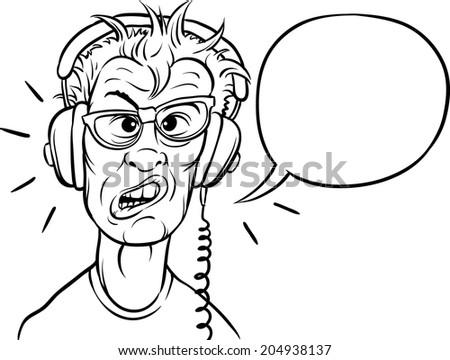 whiteboard drawing - nerd with headphones - stock vector