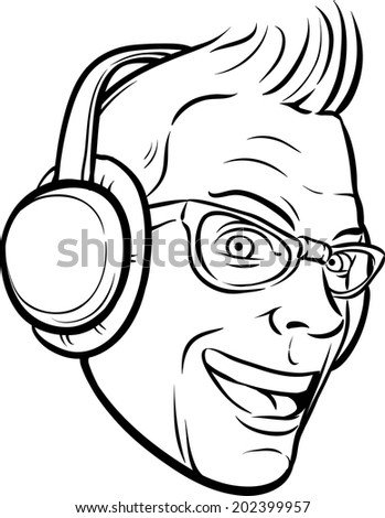 whiteboard drawing - punk with headphones - stock vector