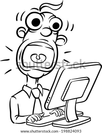 whiteboard drawing - screaming businessman and desktop computer. Easy-edit layered vector EPS10 file scalable to any size without quality loss. - stock vector