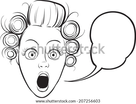 whiteboard drawing - surprised woman face - stock vector
