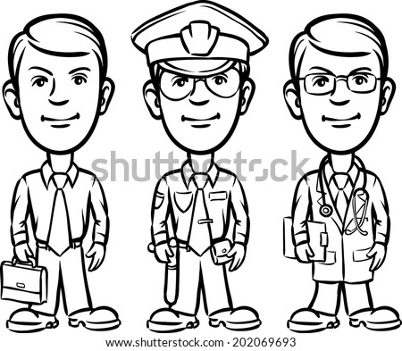 whiteboard drawing - three cartoon professionals businessman policeman doctor - stock vector