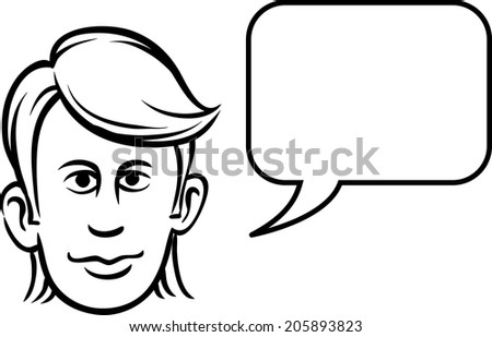 whiteboard drawing - young man face with speech bubble - stock vector