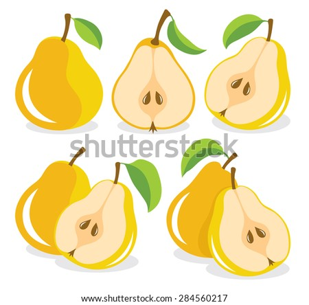 Whole and cut yellow pears, collection of vector illustrations - stock vector
