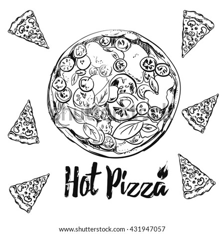 Whole and sliced italian pizza sketches with different toppings. Vintage illustration for design menus, recipes and packages product. - stock vector