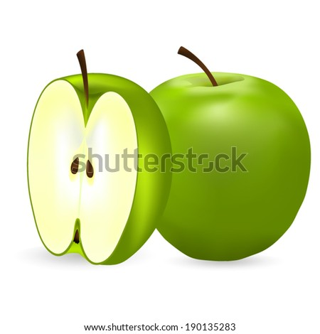 whole green apple and half  - stock vector