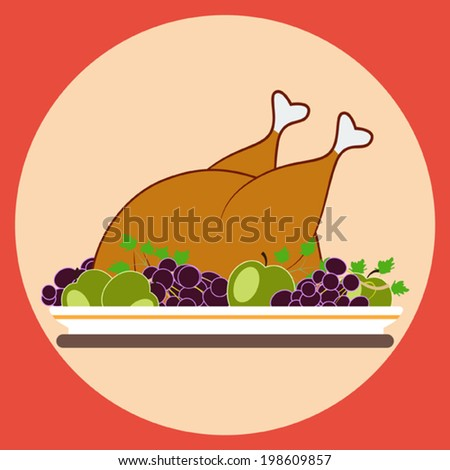 Whole grilled chicken with fruits - stock vector