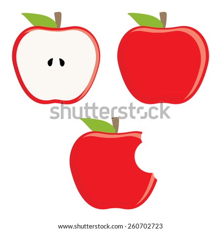 Whole red apple, half apple and bitten apple vector set, fresh fruit, healthy food - stock vector