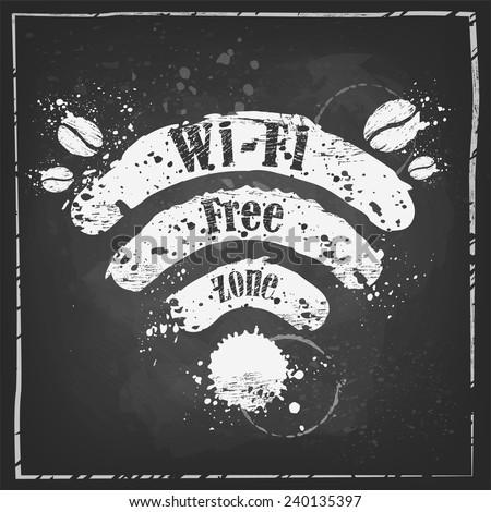 Wi-fi coffee,Wi-fi free zone, Wi-fi symbol with splashes on the chalkboard background - stock vector