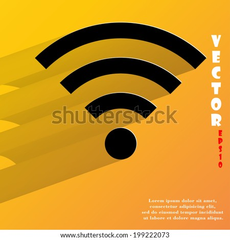 WI-FI. Flat modern web button with long shadow and space for your text. Vector. EPS10 - stock vector