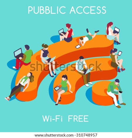 Wi-Fi Free Public Hotspot Zone Wireless Internet. Connection Interacting People Unique IsometricRealistic Poses. NEW bright palette 3D Flat Vector Icon Set  Personal Devices and WiFi EPS JPG JPEG Art - stock vector