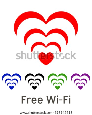 Wi-Fi Icon. Vector wifi symbol, free wi-fi. free wifi symbol. Isolated wi-fi sticker.  - stock vector