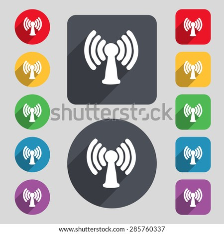 Wi-fi, internet icon sign. A set of 12 colored buttons and a long shadow. Flat design. Vector illustration - stock vector