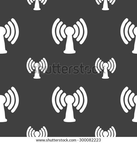 Wi-fi, internet icon sign. Seamless pattern on a gray background. Vector illustration - stock vector