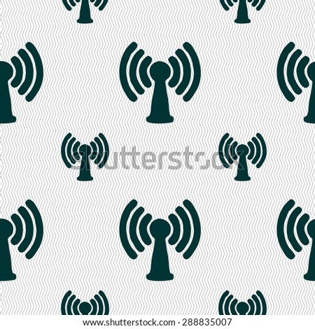 Wi-fi, internet icon sign. Seamless pattern with geometric texture. Vector illustration - stock vector