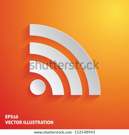 Wi Fi white icon on orange background. Vector illustration - stock vector