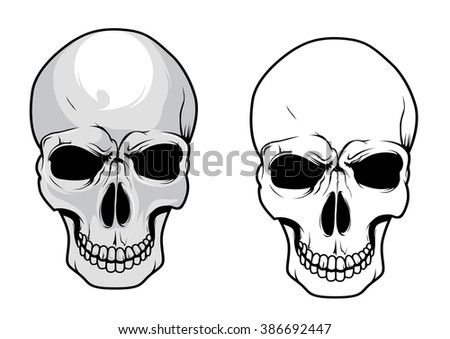 Wicked human skulls with dark eye sockets and cracked teeth in cartoon and sketch style. Great for tattoo, embellishment or t-shirt print design  - stock vector