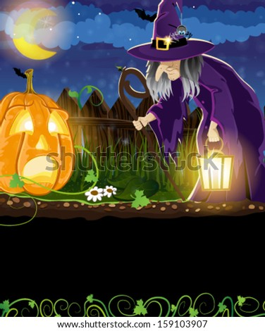 Wicked witch with  lantern and Jack o Lantern with sprouts and leaves near the fence. Halloween night scene - stock vector