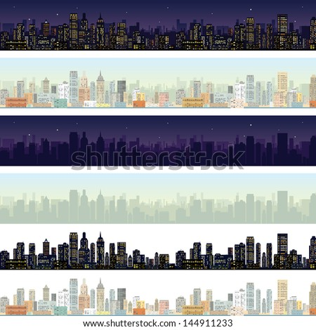 Wide Cityscape at Different Time. Detailed Vector Illustration Skyline of Modern City Downtown at Daylight, Midnight. - stock vector