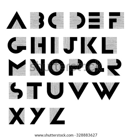 Wide decorative retro alphabet - stock vector