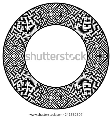 Wide round frame with ethnic pattern. Design element in black color. Could be used for web design, decoration, prints, etc. Monochromatic vector illustration. - stock vector