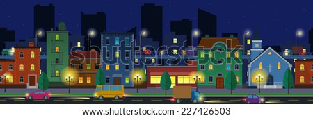 Wide screen flat style cityscape with buildings, cars and skyway against  skyscraper silhouettes at night time. - stock vector