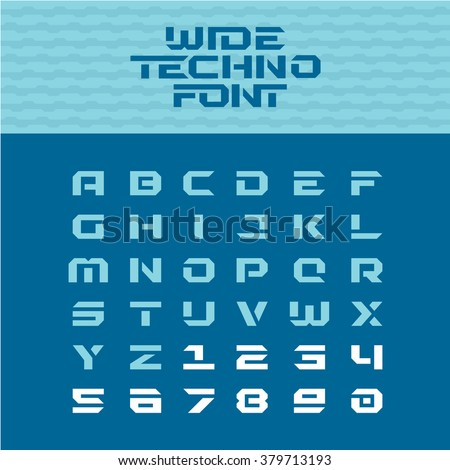 Wide techno poster font. Geometric angular letters with numbers. - stock vector