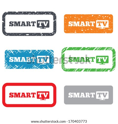 Widescreen Smart TV sign icon. Television set symbol. Retro Stamps and Badges. Vector - stock vector