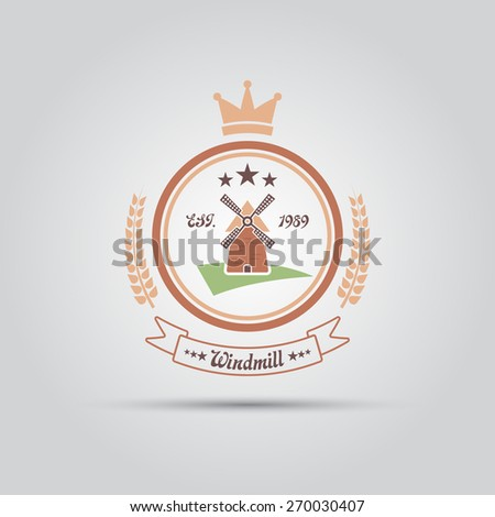 widmill in a circle with a ribbon isolated vector vintage badge - stock vector